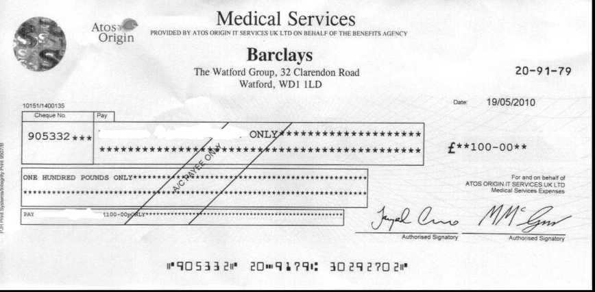 Cheque front